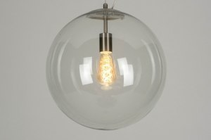 pendant light 73001 modern retro glass clear glass stainless steel metal steel gray transparent round