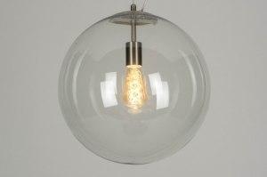 hanglamp 73001 modern retro staalgrijs transparant kleurloos glas helder glas metaal staal rvs rond