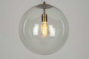 hanglamp 73002 modern retro eigentijds klassiek glas helder glas messing geschuurd brons metaal brons messing transparant kleurloos rond