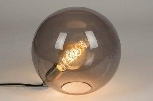 tafellamp 73003 modern retro eigentijds klassiek glas zwart grijs messing rond