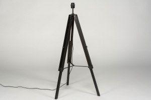 vloerlamp 73010 industrie look modern retro eigentijds klassiek hout zwart mat rond