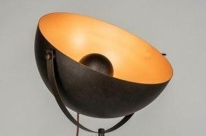 vloerlamp 73016 landelijk rustiek modern staal rvs metaal zwart goud bruin rond