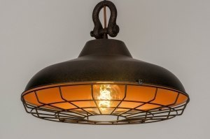 pendant light 73020 industrial look rustic modern stainless steel metal black matt gold rust brown round