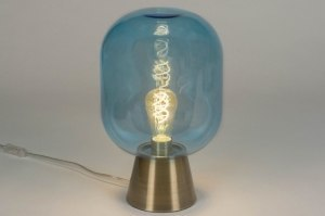 tafellamp 73025 sale design modern eigentijds klassiek glas messing geschuurd blauw messing rond