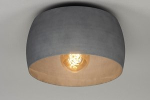 plafondlamp 73033 landelijk rustiek modern aluminium betongrijs rond
