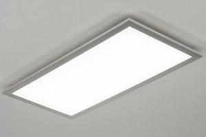 plafondlamp 73038 design modern aluminium kunststof aluminium langwerpig rechthoekig