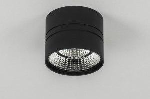 plafondlamp 73042 modern zwart mat aluminium rond