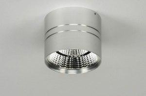 plafondlamp 73043 modern aluminium geschuurd aluminium rond
