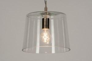 suspension 73053 moderne verre verre clair acier poli gris d acier transparent rond