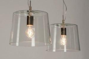 hanglamp 73054 sale modern glas helder glas staal rvs staalgrijs transparant kleurloos rond