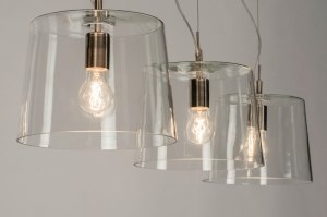 hanglamp 73055 sale modern glas helder glas staal rvs staalgrijs transparant kleurloos rond