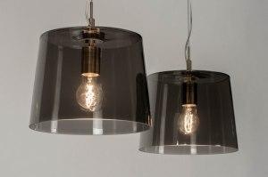 hanglamp 73056 modern glas helder glas staal rvs grijs staalgrijs rond