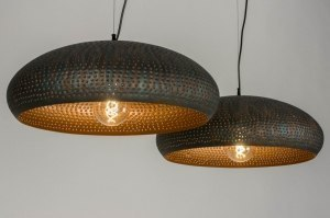 pendant light 73063 rustic modern contemporary classical metal black brown copper multicolor round