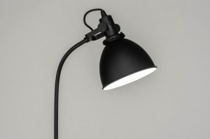 vloerlamp 73102 industrie look modern staal rvs metaal zwart mat rond