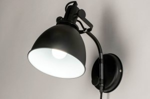 wall lamp 73103 sale industrial look modern stainless steel metal black matt round
