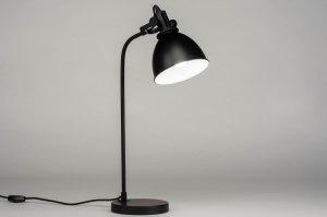 tafellamp 73104 industrie look modern staal rvs metaal zwart mat rond