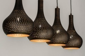 pendant light 73105 rustic modern metal black gold brown oblong