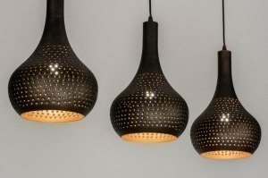 pendant light 73106 rustic modern metal black gold brown oblong
