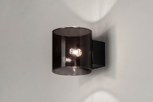 wall lamp 73110 modern retro glass metal black matt grey round