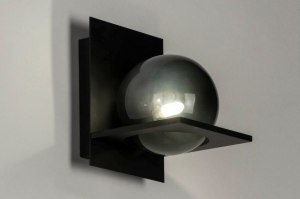 wall lamp 73111 modern retro glass metal black matt grey rectangular