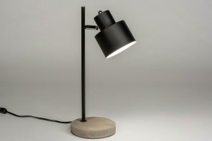 table lamp 73122 modern raw concrete metal black matt grey round oblong