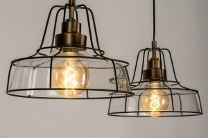 pendant light 73125 rustic classical contemporary classical glass clear glass bronze metal black matt rust round oblong