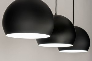 suspension 73128 moderne retro acier noir mat rond oblongue