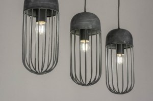 pendant light 73130 modern raw metal grey concrete gray oblong