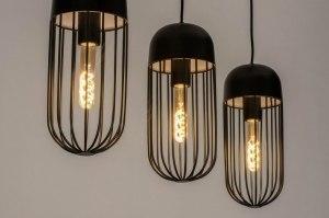 hanglamp 73132 industrie look modern metaal zwart mat langwerpig