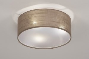 ceiling lamp 73147 rustic modern fabric taupe colored round