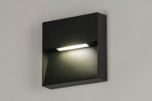 wall lamp 73166 modern aluminium metal dark gray square
