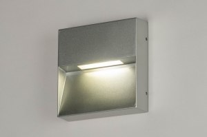 wall lamp 73168 modern aluminium metal silvergray square