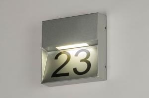 wandlamp 73168 eindereeks modern aluminium metaal zilver vierkant