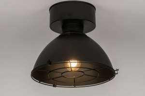 ceiling lamp 73180 industrial look rustic modern metal black matt round