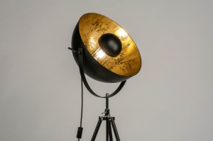 floor lamp 73201 modern retro contemporary classical metal black matt gold round