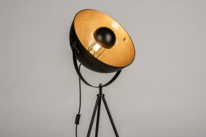 floor lamp 73204 industrial look modern metal black matt gold round