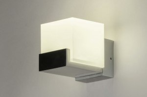 wall lamp 73212 designer modern aluminium plastic acrylate synthetic glass white aluminum square rectangular
