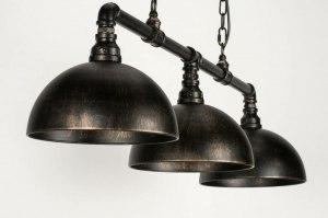 pendant light 73225 industrial look rustic classical contemporary classical metal black matt rust rusty brown round oblong