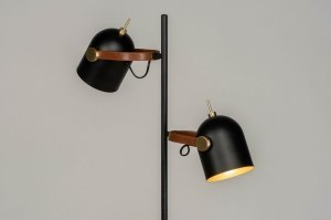 floor lamp 73244 industrial look modern metal black matt gold matt brass round