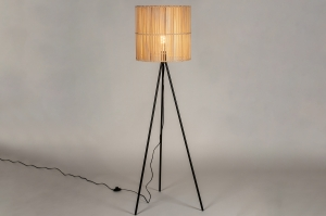 floor lamp 73246 modern retro wood metal reed black matt natural round