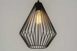 pendant light 73250 modern retro metal black matt dark gray oblong