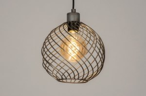 hanglamp 73252 modern stoer raw metaal grijs staalgrijs rond