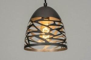 hanglamp 73255 modern stoer raw metaal grijs staalgrijs rond