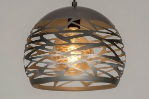 pendant light 73258 modern raw metal steel gray round