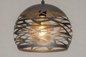 hanglamp 73258 modern stoer raw metaal staalgrijs rond