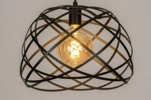 pendant light 73264 modern metal black matt round