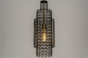 pendant light 73275 industrial look modern raw retro metal black matt matt brass round oblong