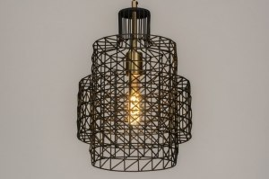 pendant light 73277 industrial look modern raw retro metal black matt matt brass round