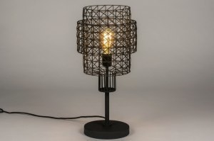 table lamp 73279 industrial look modern raw metal zinc black matt round