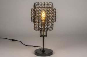 table lamp 73280 industrial look modern raw metal zinc dark gray matt brass round